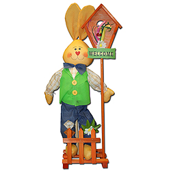 28 Inch Bunny With Birdhouse Decoration