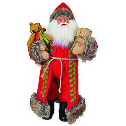 15 Inch Red Burlap Holly Santa Claus Table Top Decoration