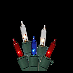 50 Patriotic Red White And Blue Light Sets - 8 Inch Spacing - Box of 6