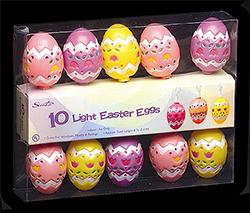 10 Easter Egg Lights - White Wire