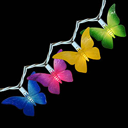 10 Incandescent Colorful Butterfly Patio and Garden Lights White Wire