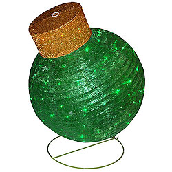 38 Inch Green Glittering LED Lighted Fabric Ornament Decoration