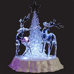 9 Inch Battery Operated Acrylic Reindeer Tree Decoration