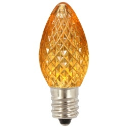 25 LED C7 Yellow Faceted Retrofit Replacement Bulbs