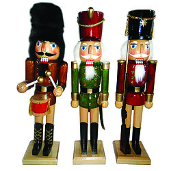 Natural Wood Nutcracker Decoration Set of 3