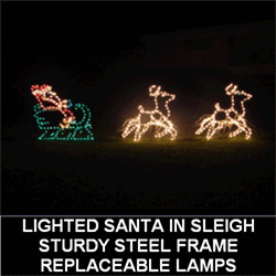 Santa Claus in Sleigh with Animated Reindeer LED Lighted Outdoor Christmas Decoration