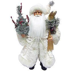 15 Inch Winter White Santa Claus Table Top Decoration