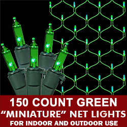150 Green Net Lights Green Wire Box of 6