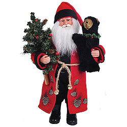 15 Inch Pine Cone Santa Claus With Black Bear Decoration
