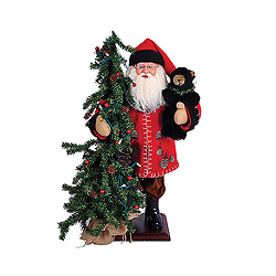 20 Inch Pine Cone Santa Claus With Tree Decoration
