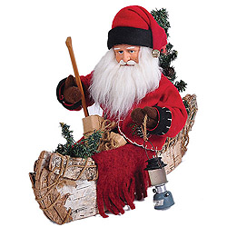 15 Inch Santa Claus in A Canoe Decoration
