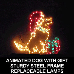 Animated Dog With Gift LED Lighted Outdoor Christmas Decoration