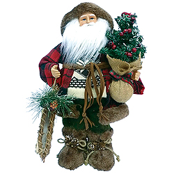 16 Inch Woodsman Santa Claus Table Top Decoration
