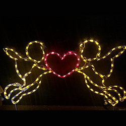 Cupids Holding Heart LED Lighted Outdoor Valentines Day Decoration