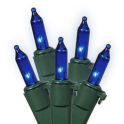 100 Blue Christmas Lights Green Wire 2.5 Inch Spacing Box of 6