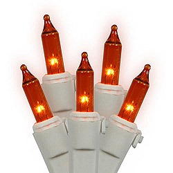 100 Amber Christmas Lights White Wire 2.5 Inch Spacing Box of 6
