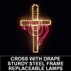 Cross with Drape LED Lighted Outdoor Easter Decoration