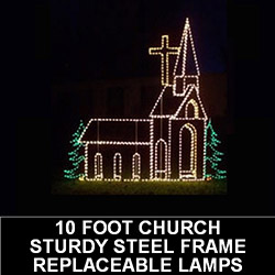 Church with Trees LED Lighted Outdoor Lawn Decoration