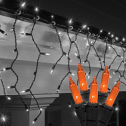 100 Orange Icicle Halloween Lights Black Wire Box of 12