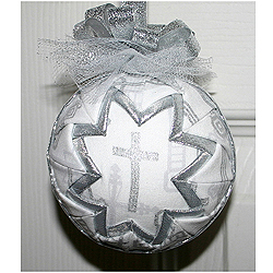 Silver Round Cross Ornament