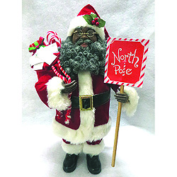 15 Inch African American North Pole Santa Decoration