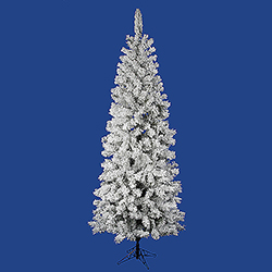 6.5 Foot Flocked Pacific Pencil Artificial Christmas Tree Unlit