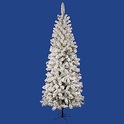 6.5 Foot Flocked Pacific Artificial Christmas Tree 300 DuraLit Clear Lights