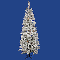 6.5 Foot Flocked Pacific Artificial Christmas Tree 250 LED Multi Lights