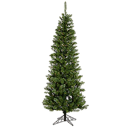 7.5 Foot Salem Pencil Pine Artificial Christmas Tree 300 LED Warm White Lights
