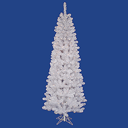 7.5 Foot White Salem Pencil Pine Artificial Christmas Tree 300 LED Warm White Lights