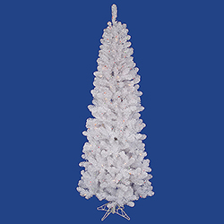 7.5 Foot White Salem Pencil Pine Artificial Christmas Tree 300 LED Multi Lights