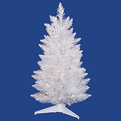 30 Inch Sparkle White Pencil Spruce Artificial Christmas Tree 50 LED Warm White Lights