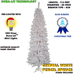 7.5 Foot White Pencil Pine Lighted Artificial Christmas Tree Clear Lights