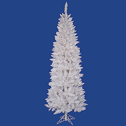 7.5 Foot Sparkle White Pencil Spruce Artificial Christmas Tree 300 LED Warm White Lights
