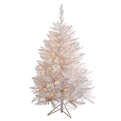 4.5 Foot Sparkle White Spruce Artificial Christmas Tree 200 LED Warm White Lights