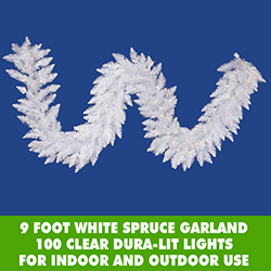 9 Foot White Spruce Christmas Garland 100 Clear DuraLit Incandescent Lights