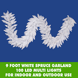 9 Foot White Spruce Christmas Garland 100 Multi LED 5MM Lights