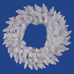 36 Inch Sparkle White Spruce Wreath 100 DuraLit Clear Lights