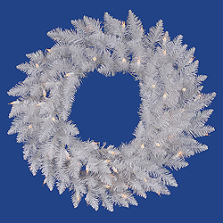 48 Inch White Spruce Wreath 150 DuraLit Clear Lights