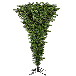 7.5 Foot Green Upside Down Artificial Christmas Tree Unlit