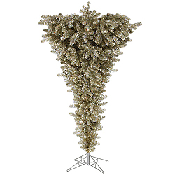7.5 Foot Champagne Upside Down Artificial Christmas Tree Unlit