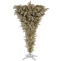 7.5 Foot Champagne Upside Down Artificial Christmas Tree 500 DuraLit Clear Lights
