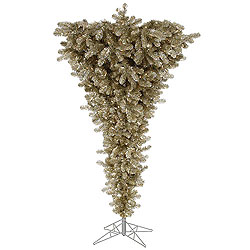 9 Foot Champagne Upside Down Artificial Christmas Tree 1000 LED Warm White Lights