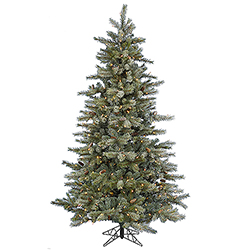 7.5 Foot Frosted Sartell Artificial Christmas Tree 550 LED Warm White Lights