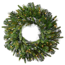 24 Inch Cashmere Artificial Christmas Wreath 50 LED Warm White Lights