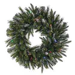 24 Inch Cashmere Wreath 50 LED Multi Lights
