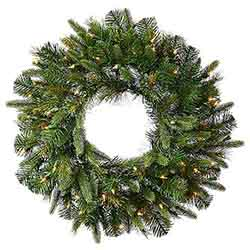 36 Inch Cashmere Wreath 100 LED Warm White Lights