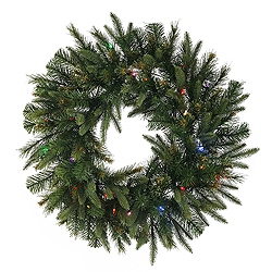 8 Foot Cashmere Wreath 500 LED Multi Lights