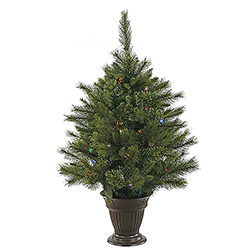 3.5 Foot Cashmere Pine Artificial Christmas Tree 50 LED Multi Lights