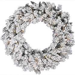 42 Inch Flocked Snow Ridge Wreath 100 DuraLit Clear Lights